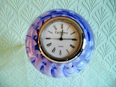 Caithness Glass Paperweight / Clock. Zig Zag Design - Lilac & Blue. Small Chip.