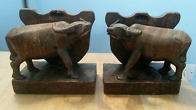 Vintage Wooden Buffalo Bookends