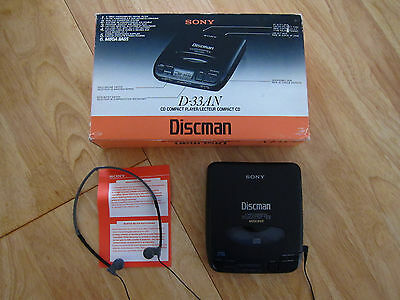 Boxed Sony Discman D-33 CD Player in Outstanding Condition