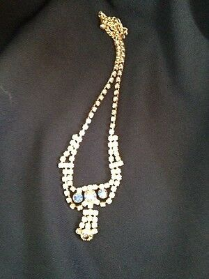 Clear and Blue AB Rhinestone Goldtone Necklace