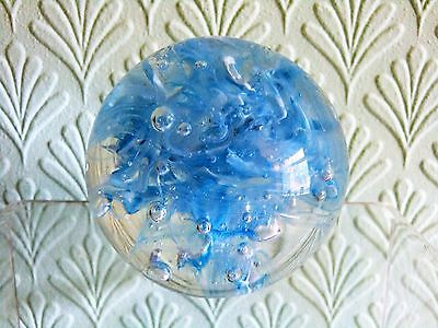 Small Glass Paperweight. Clear Glass With Pale Blue & White Swirls
