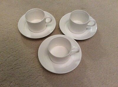 Crown,Staffordshire White Cups and Saucers. Vintage.