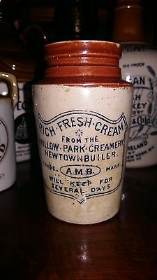 Rare Irish Stoneware Cream Pot Willow Park Creamery