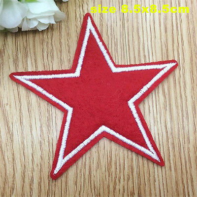 Red Large Star Patch Iron on Sew on Embroidered Patch Badge Applique Motif