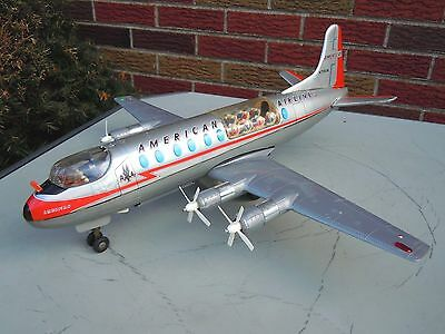 """1958 Large 20"""" Japan Tomiyama Tin Battery Op. A A Viscount Airplane. WORKS. NRES"""
