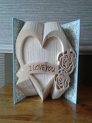 Folded Book Art Folding PATTERN ONLY I Love You Heart with roses #373