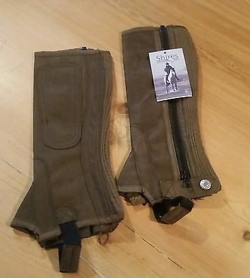 Shires Childs Brown Synthetic Suede Half Chaps. Size M.  BNWT