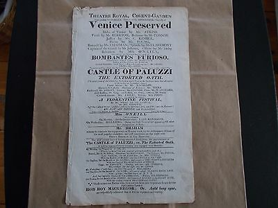 1818 Theatre Royal, Covent-Garden  Broadside Venice Preservered..200 Years Old!