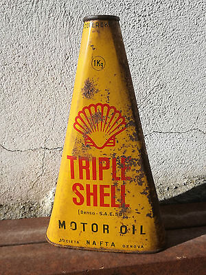 Bidon SHELL Triple Ancien Huile 1940 Can Tin Oldose Oel dose Triangulaire Oil