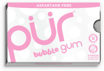 Aspartame Free Gum, Pur, 9 piece pack Bubblegum