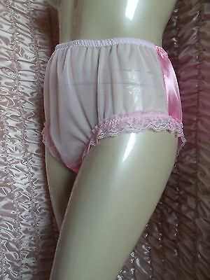 "FEMININE Pink Liquid Satin & Lace PANTIES KNICKERS  28"" -  36""  MAX 42"""