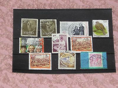 10 European stamps in a stock card