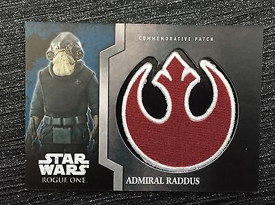 STAR WARS ROGUE ONE MISSION BRIEFING MINT REBEL PATCH- ADMIRAL RADDUS 4 Of  13