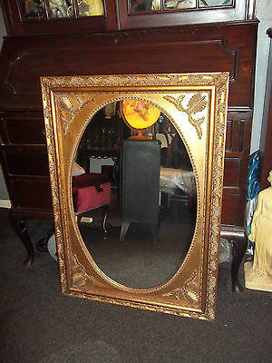 Large Antique Style Gold Framed Mirror. Shabby Chic