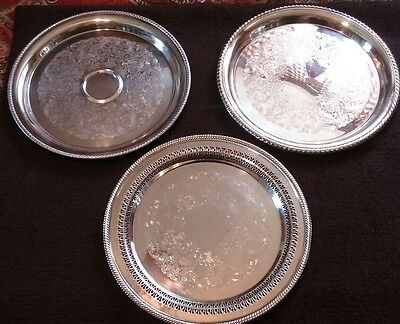 W.M. Rogers international silver co silverplate serving tray platter lot of 3
