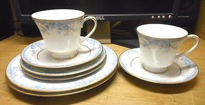 8 Pcs Noritake Avalon Cups, Saucers, Bread and Salad Plates, Superb!