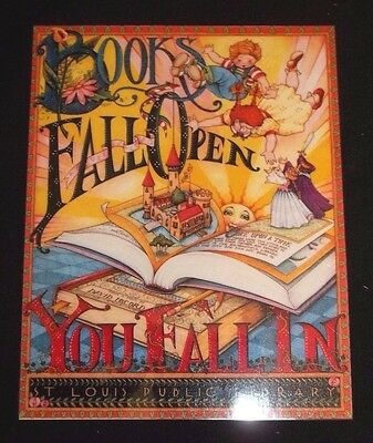 """Large Magnet w/Mary Engelbreit design/art """"Books fall Open You Fall In..."""""""