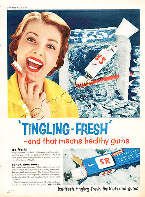 Authentic 1955 GIBBS SR TOOTHPASTE Full Page Vintage Magazine Advert