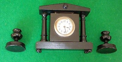 Old Vintage Ebony Mantle Clock With Matching Candlesticks.