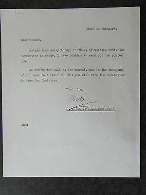 The Beatles Fan Club  Letter Signed By Freda