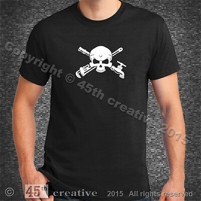 Plumber Crossbones T-shirt XL pipe wrench faucet skull plumbing tools t shirt