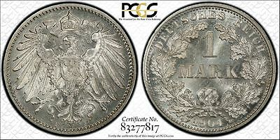 Germany 1904-F 1 Mark, PCGS MS65, frosty white, Pop 2/1