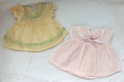 Vintage Doll Clothes Lot #13: Yellow & Pink Small BABY DOLL DRESSES