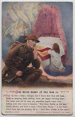 """POSTCARD - Bamforth Song Card """"God Bless Daddy at the War (3)"""" religion #4996/3"""