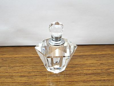 Beautiful Crystal Clear Faceted Glass Art Deco Style Perfume Bottle