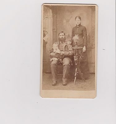 CDV photo antique beard General I believe (pope) woman and baby pose table dress