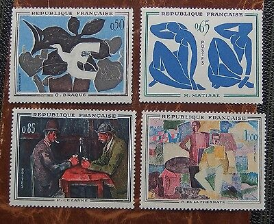 """France 4 timbres neufs """"tableaux"""" 1961"""