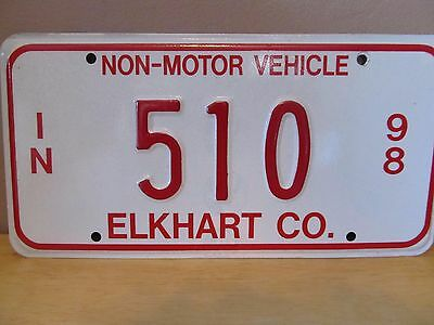 Indiana Non-Motor Vehicle Metal License Plate~1998~Elkhart County~#510~Amish