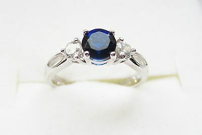 STERLING SILVER BLUE SAPPHIRE and CZ RING, 2.3g, SIZE 6,5