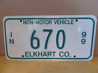 Indiana Non-Motor Vehicle Metal License Plate~1999~Elkhart County~#670~Amish