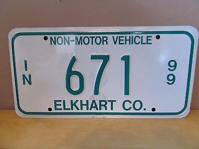 Indiana Non-Motor Vehicle Metal License Plate~1999~Elkhart County~#671~Amish