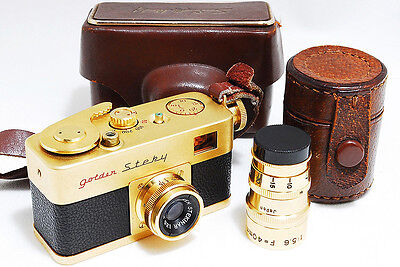 Ricoh Golden Steky Subminiature Camera w/ 2 Lenses, Case [Exc] from Japan