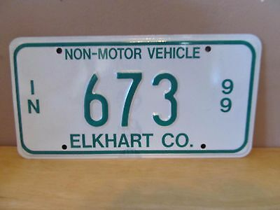 Indiana Non-Motor Vehicle Metal License Plate~1999~Elkhart County~#673~Amish