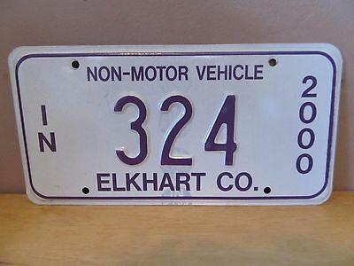 Indiana Non-Motor Vehicle Metal License Plate~2000~Elkhart County~#324~Amish