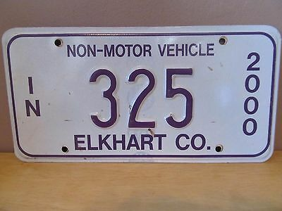 Indiana Non-Motor Vehicle Metal License Plate~2000~Elkhart County~#325~Amish
