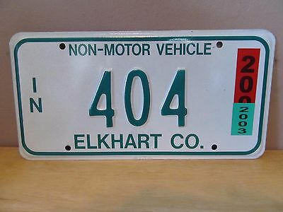 Indiana Non-Motor Vehicle Metal License Plate~2003~Elkhart County~#404~Amish