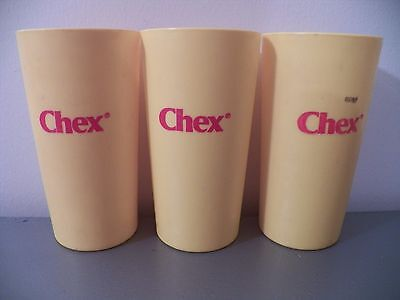 "Lot of (3) Vtg 70s CHEX CEREAL Yellow Plastic Cups 5"" Advertising Collectible"