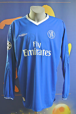 Match worn Chelsea Champions League home-shirt worn and signed by Hasselbaink