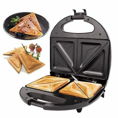 New Black Electric 2 Slice Sandwich Toast Toaster Maker 700W Non Stick Breakfast