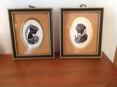 Pair of Framed and Signed Silhouettes from the Pennyfarthing Gallery