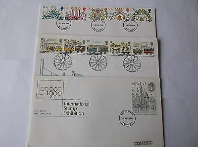 GB Stamps 3x First Day Covers 1980 blank/typed envelopes