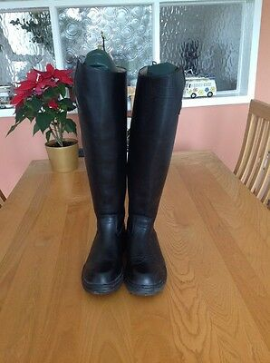 Mountain Horse Long Black Leather Riding Boots Size 5.5 Regular