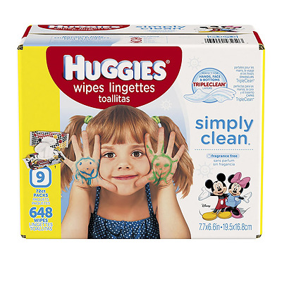 HUGGIES Simply Clean Baby Wipes, Unscented, Soft Pack , 72 Count, Pack of 9 (648