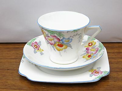 Bell China Art Deco Hand Finished Floral Vintage Bone China Trio Pattern 3388