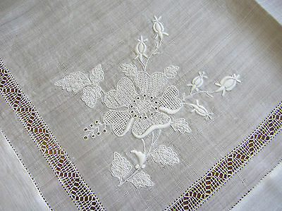 """Antique Embroidered Lace Madeira LINEN Bridal WEDDING Handkerchief HANKY 18"""""""