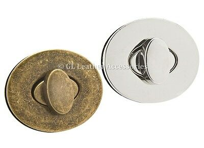 Oval Metal Purse Bag Twist Turn Lock 4.4cm x 3.7cm